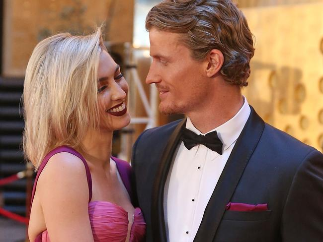 Better days ... Richie Strahan and Alex Nation arrive at the 59th Annual Logie Awards.