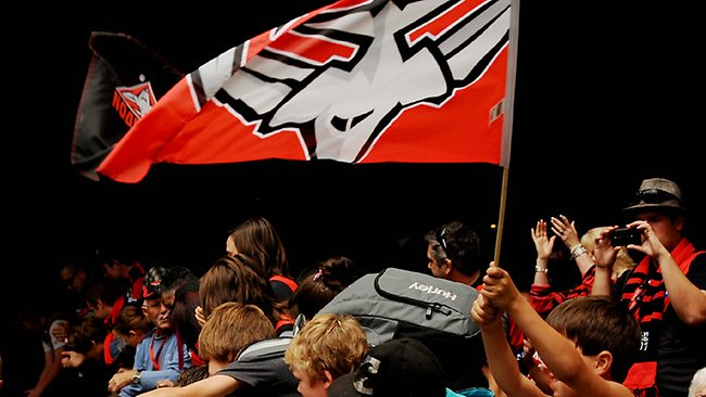 A young fan flies an Essendon flag during a match at Etihad Stadium last season. Picture: Colleen Petch