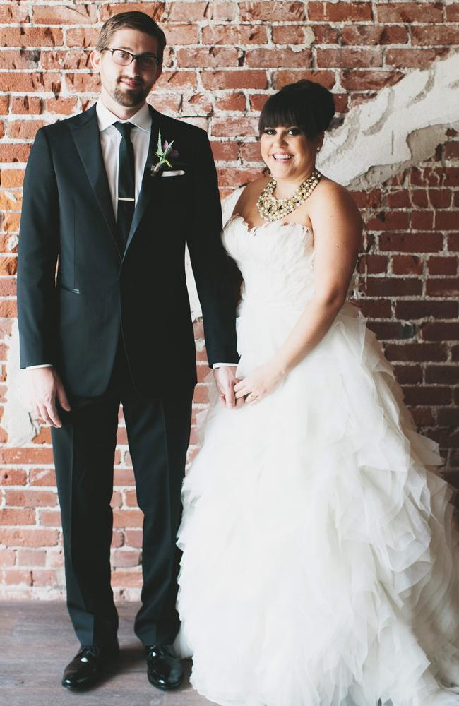 To buy: $US8,000. To rent: $US1,200. Calli Verducci wore a gorgeous rented gown when she wed hubby Chris in March. Photo: Aaron Young