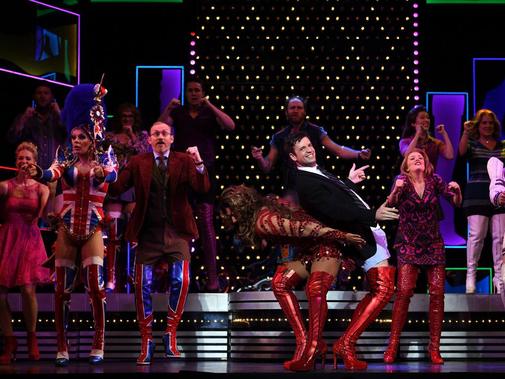 Cast members take part in a dress rehearsal media call of the musical Kinky Boots in Sydney on Wednesday, April 19, 2017. Kinky Boots will open at the Capital Theatre in Sydney tonight. (AAP Image/Paul Miller) NO ARCHIVING