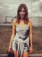 British model Alexa Chung snaps a cheeky outfit selfie at Glatsonbury music festival. Picture: Instagram