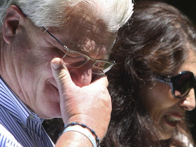 John and Diane Foley talk to reporters outside their home after a video emerged of their son being killed by Islamic militants. Pic AP, Jim Cole.