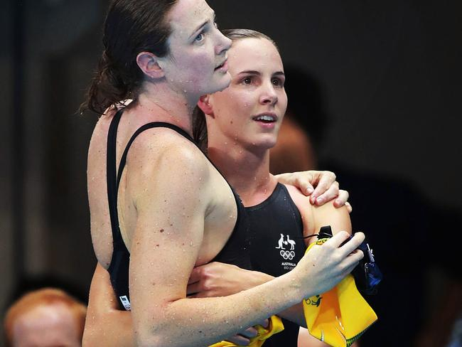 Gifted sisters Cate and Bronte Campbell are crushed after both missed out on a medal in the 100m freestyle final. Picture: Phil Hillyard