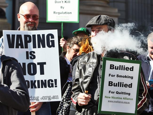 Victoria's vaping community protesting the government's bill that would place e-cigarettes in the same category as normal cigarettes. Picture: The Australian