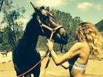 "American model Erin Wasson, ""Horsing around with Malin in #mycalvins #whitecloudranch"" Picture: Instagram"