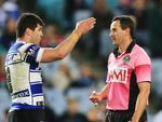 Gerard Sutton tells Michael Ennis not to swear during the Canterbury Bulldogs v South Sydney Rabbitohs NRL round 25 game at ANZ Stadium, Homebush. Picture: Mark Evans