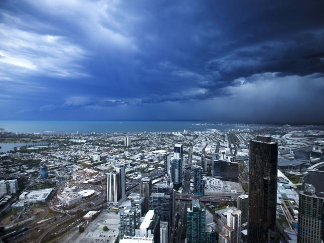 The view from Eureka Tower as the storm descends on Melbourne. Picture: Norm Oorloff