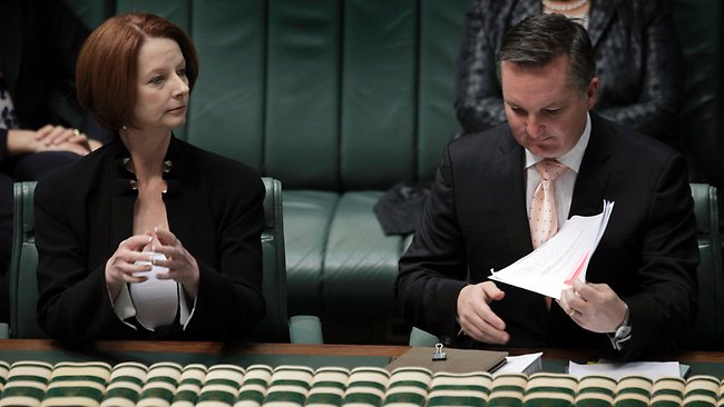 PM Julia Gillard and Immigration Minister Chris Bowen during Question Time today in Federal Parliament. Picture: Ray Strange