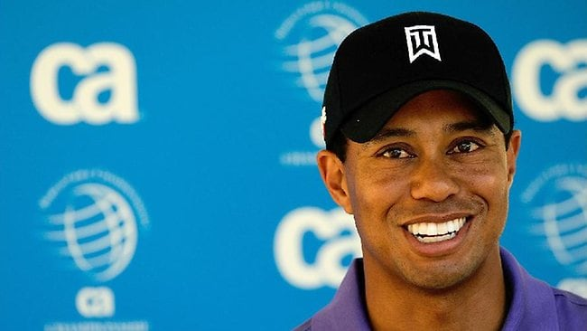 tiger woods smiling