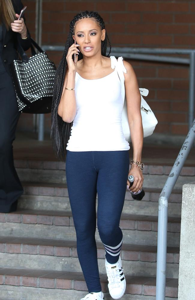 Not happy: Mel B visits police after failing to get access to the storage locker. Picture: Splash News