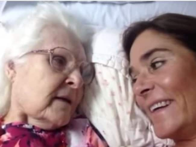 "Mother's love ... Ms Gunderson's mum recognises her in a rare moment of lucidity, telling her ""I love you Kelly"". Picture: YouTube"