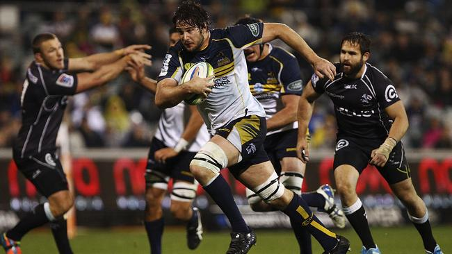 Sam Carter on the charge for the Brumbies.