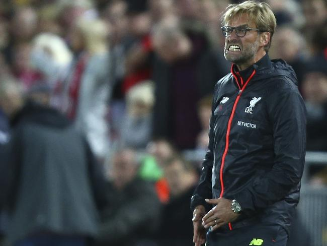 Liverpool's manager Juergen Klopp watches in frustration.