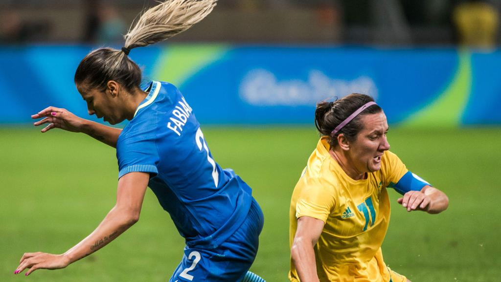 Brazil's Fabiana (L) and Australia's Lisa De Vanna during their Rio Olympic Games.