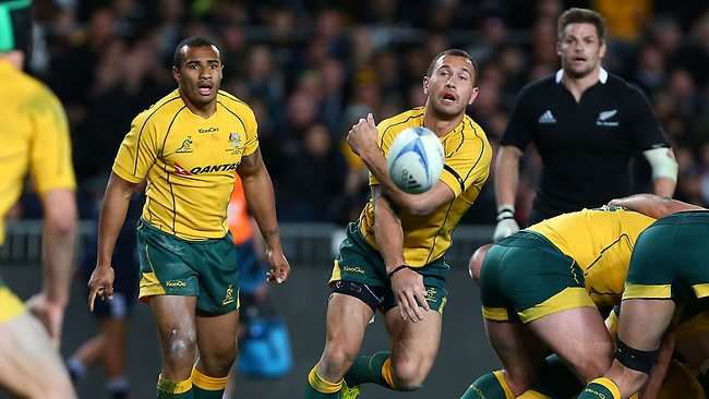 Quade Cooper of the Wallabies passes during The Rugby Championship Bledisloe Cup match between the New Zealand All Blacks and the Australian Wallabies at Eden Park. Picture: Getty Images