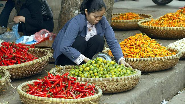 A vendor sits among baskets of chilis and fruit on a Hanoi street. Picture: AFP