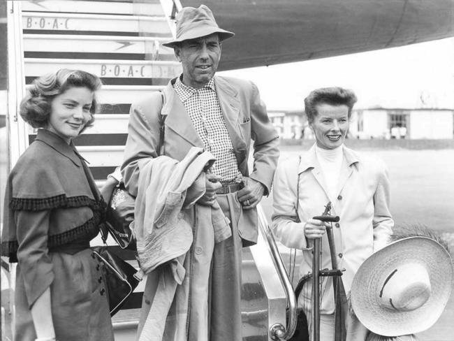 Humphrey Bogart with wife Lauren Bacall and Katharine Hepburn at London Airport 18 July 1951. Picture: EPA