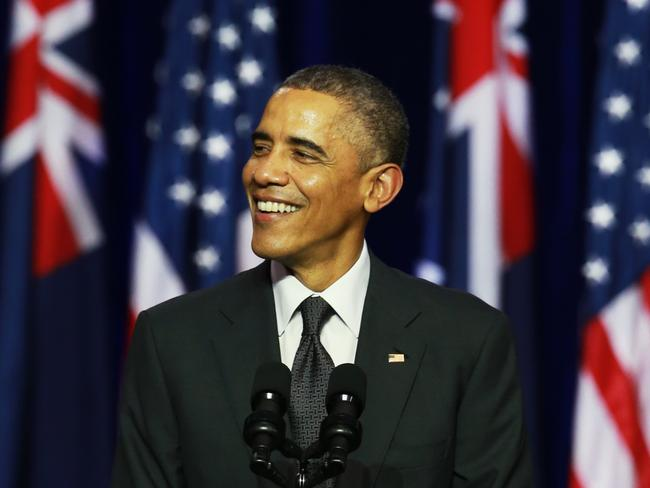 """Hello Brisbane"" ... Barack Obama had good things to say about Brisbane during his speech at the University of Queensland. Picture: News Corp Australia"