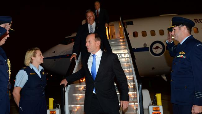 In the Big Apple ... Prime Minister Tony Abbott arrives in New York. Picture: Jake Nowakowski