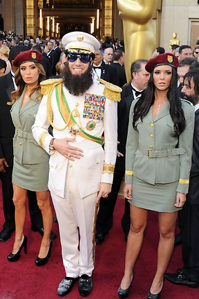 Actor Sacha Baron Cohen, dressed as his character 'General Aladeen,' arrives at the 84th Annual Academy Awards on February 26, 2012. Picture: Michael Buckner/Getty Images