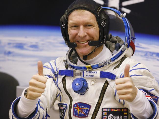 Excited ... British astronaut Tim Peake, member of the main crew of the expedition to the International Space Station (ISS). Picture: AP