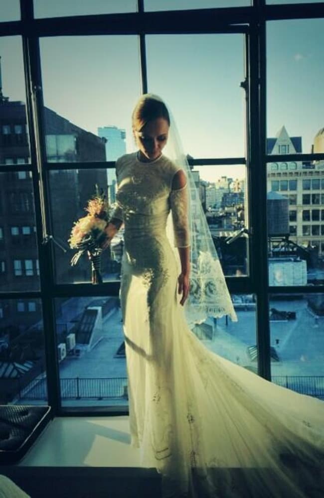 Christina Ricci shows off her Givenchy wedding gown.
