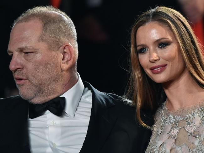 Harvey Weinstein and his wife British fashion designer and actor Georgina Chapman. Picture: AFP