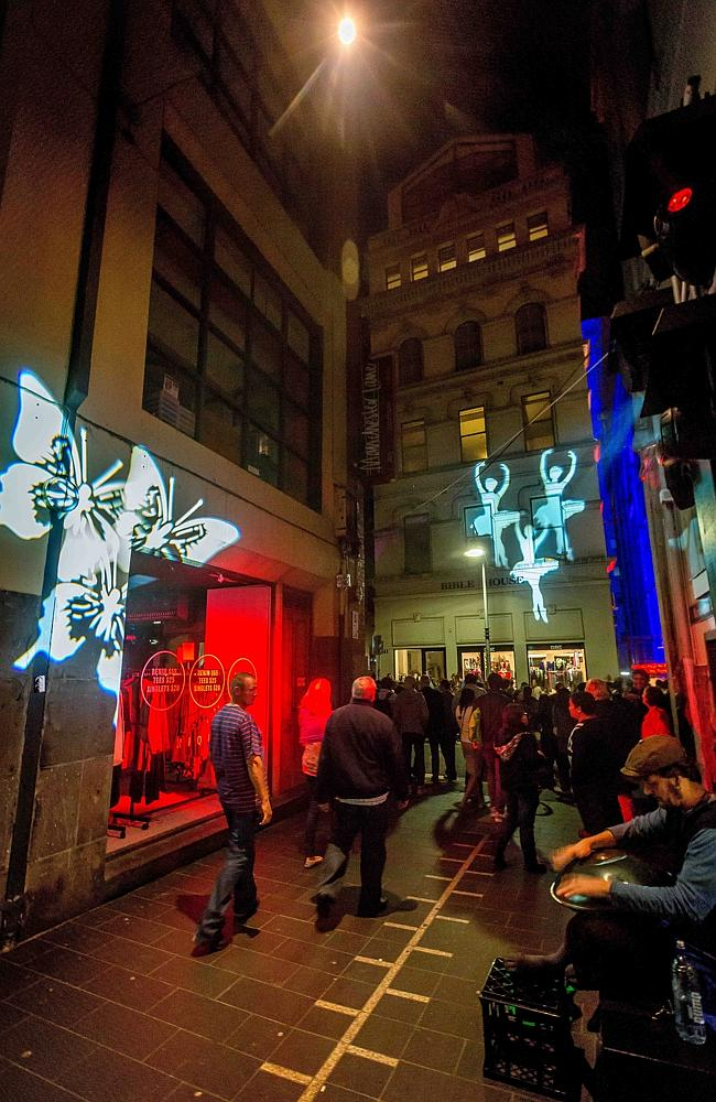 Manchester Lane on White Night night. Picture: Hamish Blair