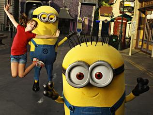 EXCLUSIVE. COLEMAN-RAYNER Hollywood, CA, USA. September 19, 2016. Escape cover shoot at Universal Studios in Hollywood, California. 10-year-old Maria Fouras of Melbourne enjoys a day at the popular theme park with her new Minion friends, Tim (shorter character) and Jerry (taller character) outside the new Despicable Me: Minion Mayhem ride. Also pictured is The Simpson's Springfield town where Maria plays fair ground games; Maria running through the Universal City Walk fountain; Maria taking selfies outside the main entrance of the park with the iconic Universal Studio globe. CREDIT LINE MUST READ: Glen McCurtayne/Coleman-Rayner Tel US (001) 323 545 7548 - Mobile Tel US (001) 310 474 4343 - Office www.coleman-rayner.com