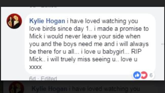 Kylie Hogan promised Mick Hawi she would always watch over his wife Carolina and their sons. Picture: Facebook