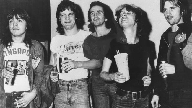 AC/DC in 1976 ... Malcolm Young, Mark Evans, Bon Scott, Angus Young and Phil Rudd.