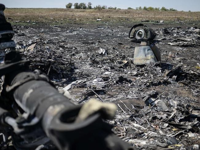 View of the crash site of the Malaysia Airlines Flight MH17 ... Shelling forced international experts to abandon the search for the time being. Picture: AFP