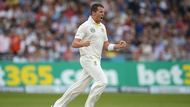 Peter Siddle celebrates the wicket of Jonathan Trott at Trent Bridge.
