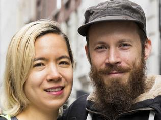 SUPPLIED FROM NY POST - NEW YORK - NOVEMBER 1: for Sunday Features. Sandy Patch and Jennifer Liepin are pictured on the street in Chelsea on November 1, 2017. The pair does not have a home, just a storage unit, and live full-time bouncing around house sitting for people. (Annie Wermiel/NY Post)