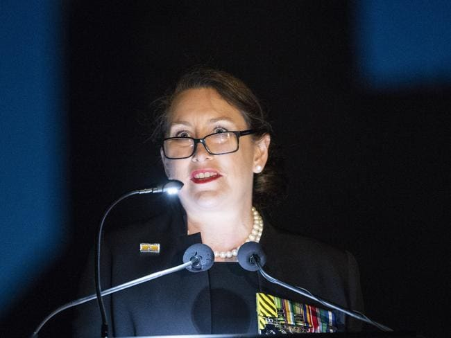 Retired Colonel Susan Neuhaus reflected on the ugliness of war in a speech at the Anzac Day dawn service at the Australian War Memorial in Canberra. Picture: Rohan Thomson/AAP