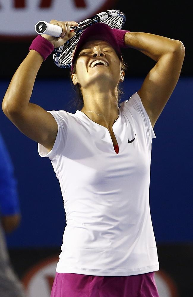 An emotional Li Na after win the Australian Open final against Slovakia's Dominika Cibulkova. Picture: Michael Klein