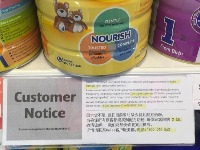 A Coles supermarket in Glen Waverley rationing cans of baby formula just metres from a travel age