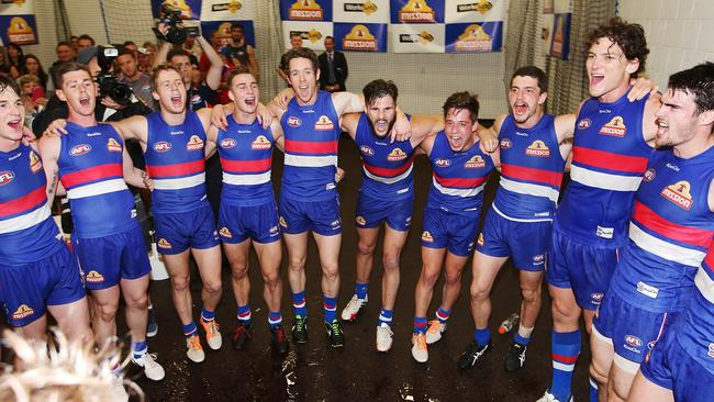 The Western Bulldogs sing the song after beating Gold Coast. Picture: Brendan Radke.