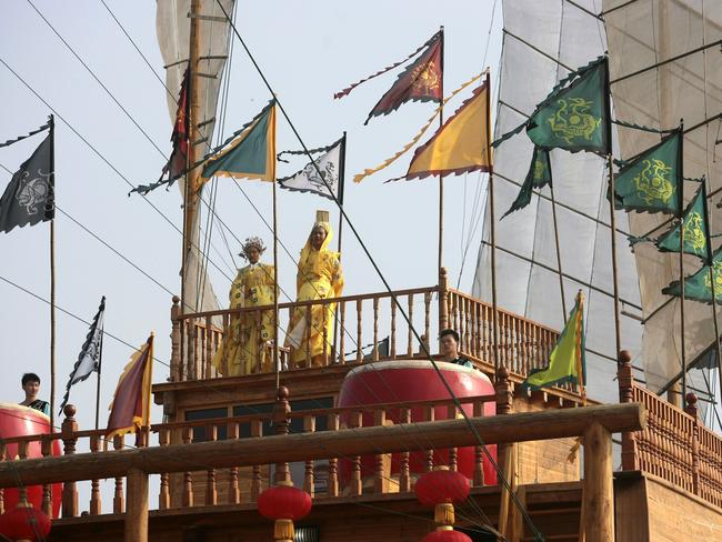 Performers aboard the Nanjing replica tell the tale Zheng He, who led his well-equipped fleets to sail across the Pacific, Indian and Atlantic oceans to more than 30 countries and regions. Picture: Getty