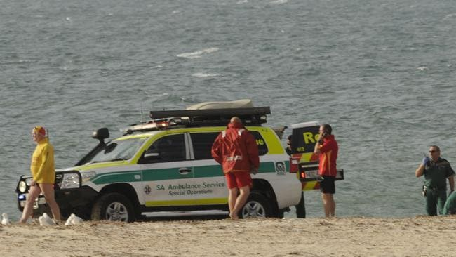Emergency crew and paramedics arriving at the scene. Picture: Bianca De Marchi