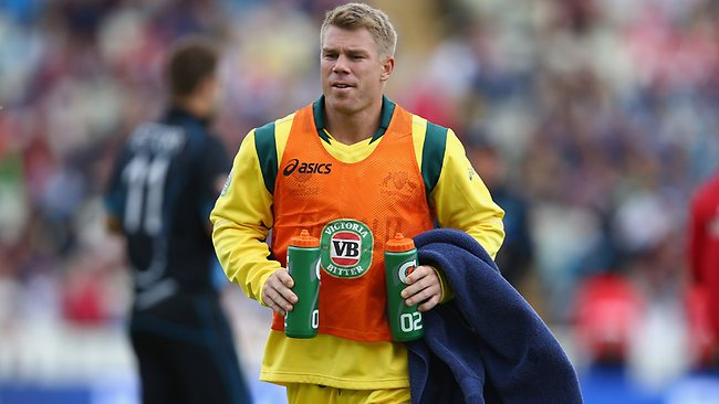 David Warner was reduced to carrying the drinks for Australia during the ICC Champions Trophy Group A match between Australia and New Zealand following his suspension.