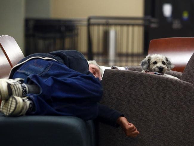 A man and his dog sleep on a makeshift bed at a recreational centre in Lac la Biche, Alberta. Picture: AFP