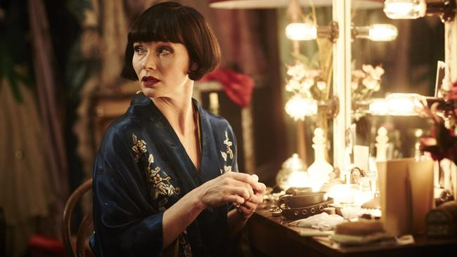 Based in the UK ... Hobart-born Essie Davis stars as Phryne Fisher in Miss Fisher's Murder Mysteries.