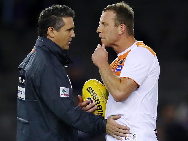 GWS Giants Steve Johnson with coach Leon Cameron.
