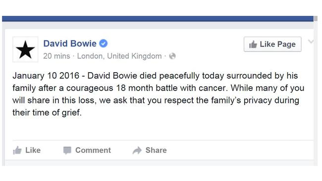 photo credit: newsapi.com.au via David Bowie's official Facebook