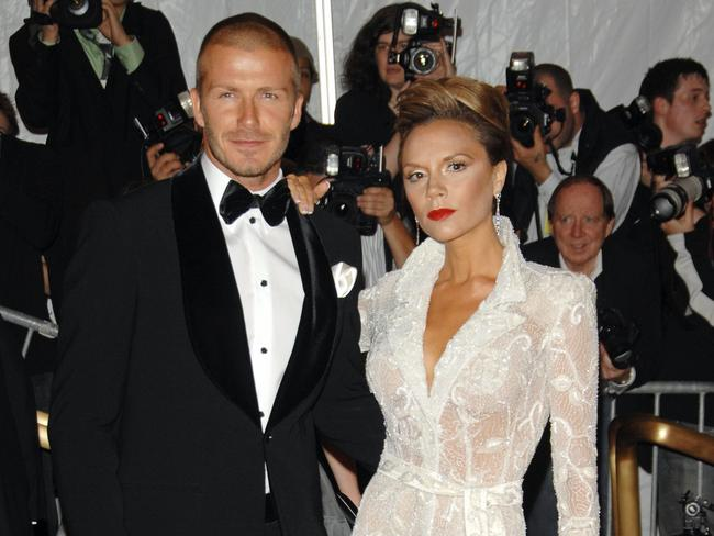 David and Vic arrive at the Met Gala in 2008.