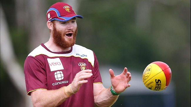 Lions defender Daniel Merritt at pre-season training at Coorparoo. Picture: Peter Wallis