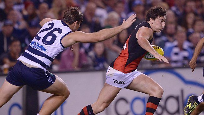 Michael Hibberd splits the Cats defence. Picture: Colleen Petch