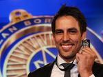 Australia's Mitchell Johnson the winner of the 2014 Allan Border Medal presented at Doltone House in Sydney. Picture: Phil Hillyard