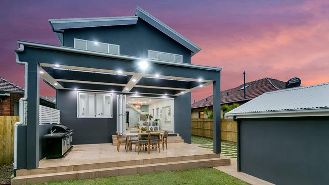 The backyard has an outdoor kitchen and undercover dining area. Picture: Supplied